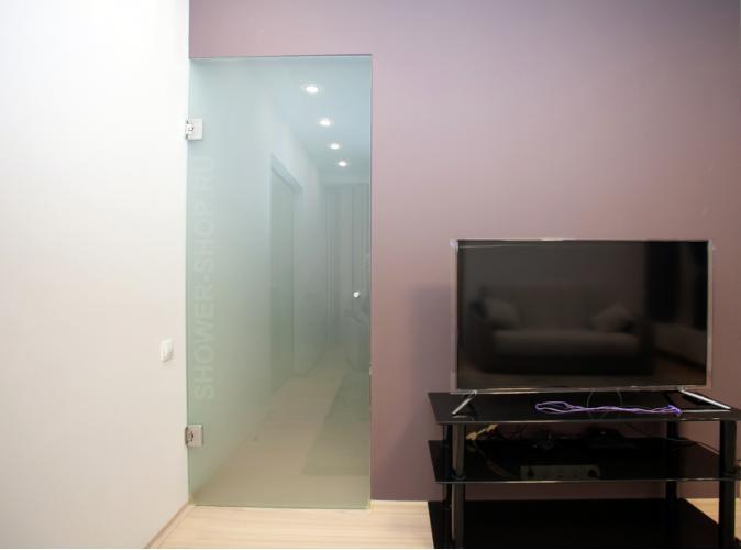 Стеклянная дверь с доводчиком в петлях